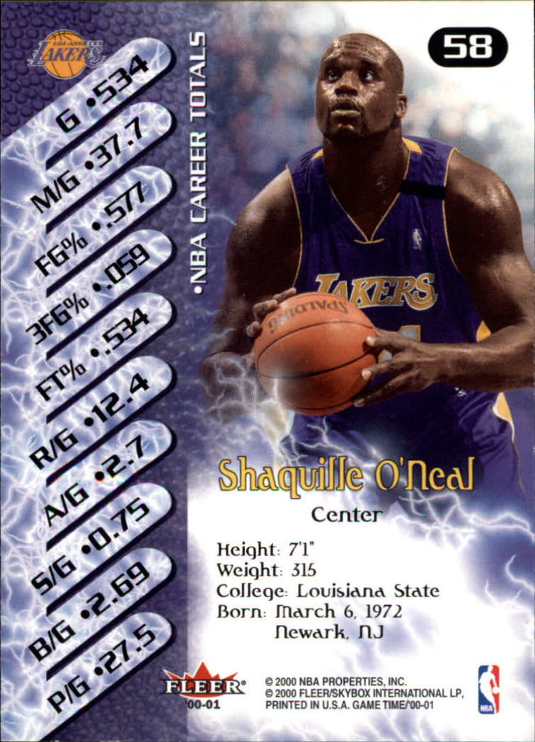 2000-01 Fleer Game Time #58 Shaquille O'Neal back image