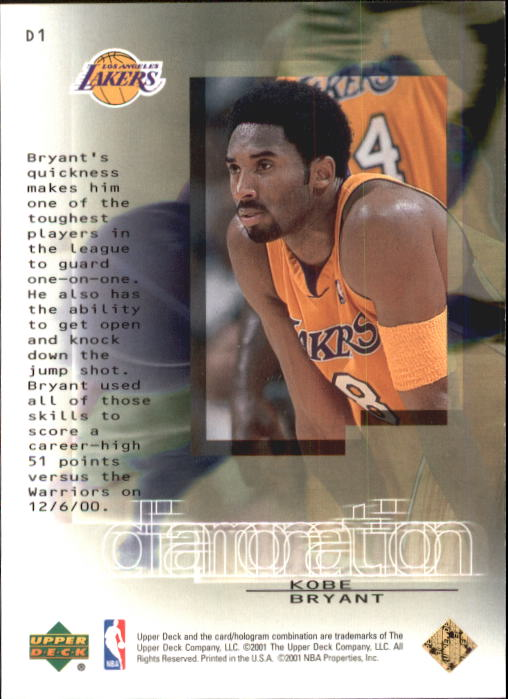 2000-01 Black Diamond Diamonation #D1 Kobe Bryant back image