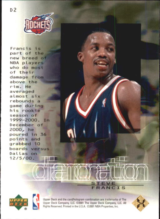 2000-01 Black Diamond Diamonation #D2 Steve Francis back image