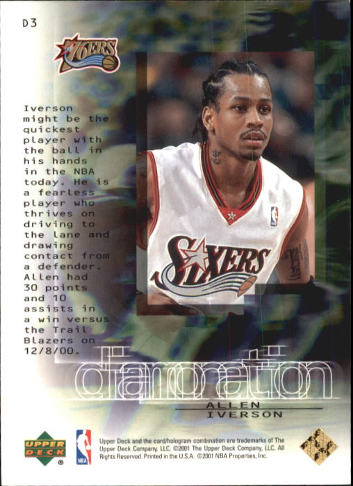 2000-01 Black Diamond Diamonation #D3 Allen Iverson back image