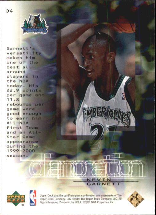 2000-01 Black Diamond Diamonation #D4 Kevin Garnett back image