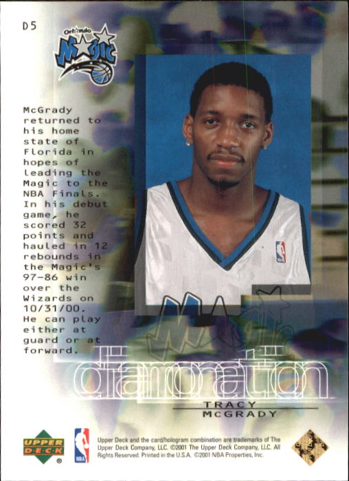 2000-01 Black Diamond Diamonation #D5 Tracy McGrady back image
