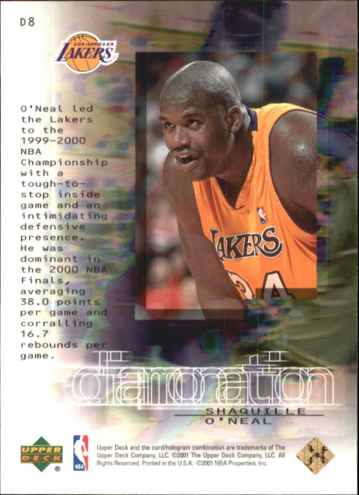 2000-01 Black Diamond Diamonation #D8 Shaquille O'Neal back image