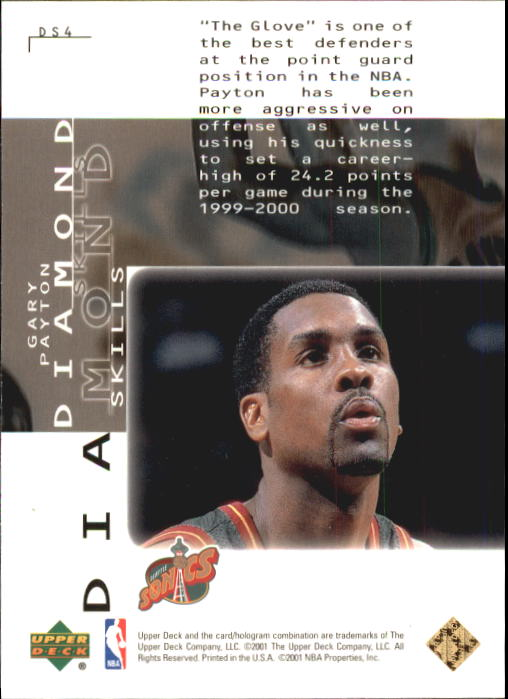 2000-01 Black Diamond Skills #DS4 Gary Payton back image