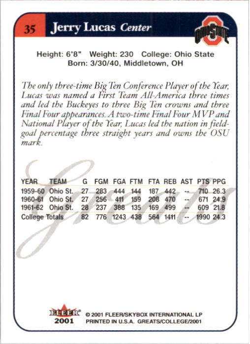 2001 Greats of the Game #35 Jerry Lucas back image