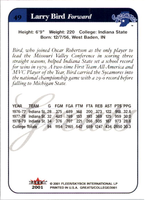 2001 Greats of the Game #49 Larry Bird back image