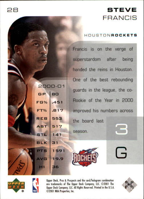 2001-02 Upper Deck Pros and Prospects #28 Steve Francis back image