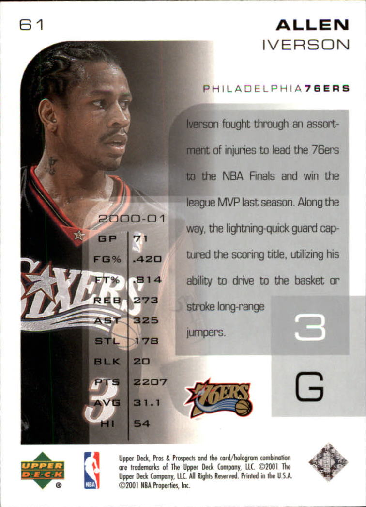 2001-02 Upper Deck Pros and Prospects #61 Allen Iverson back image