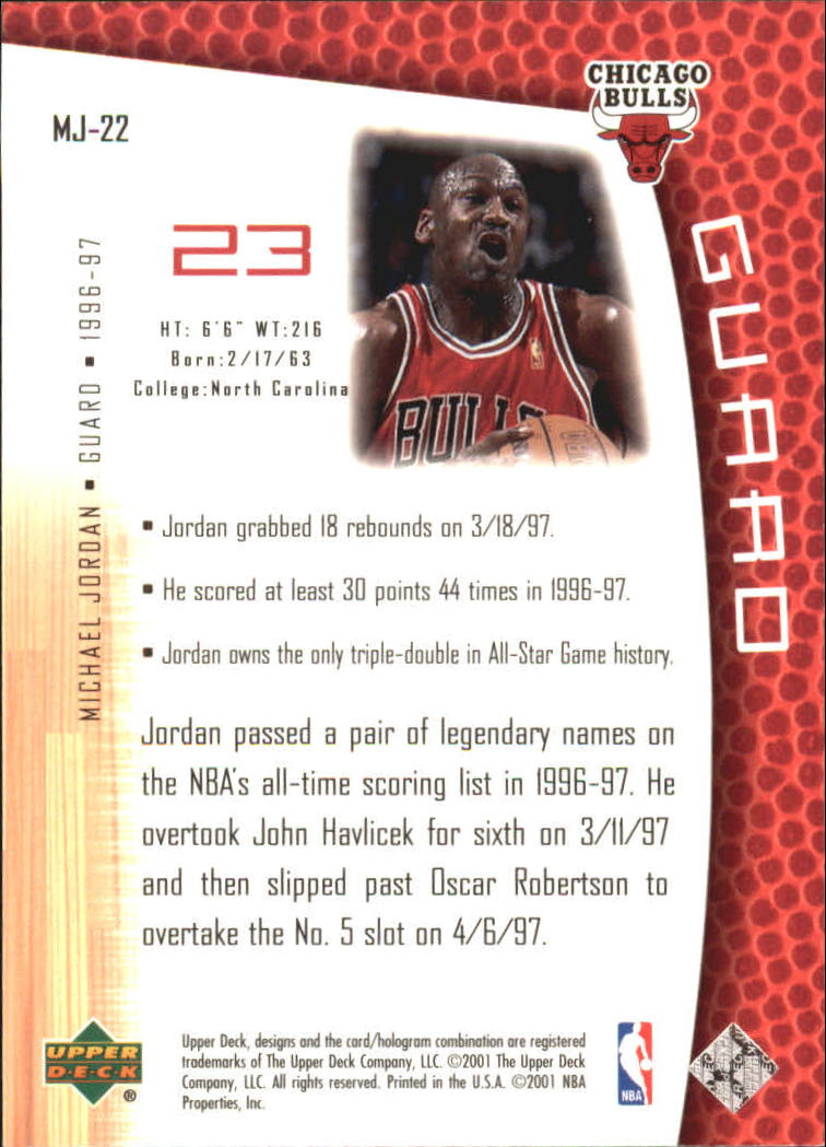 2001-02 Upper Deck MJ's Back #MJ22 Michael Jordan/Bullet Points/Bio back image