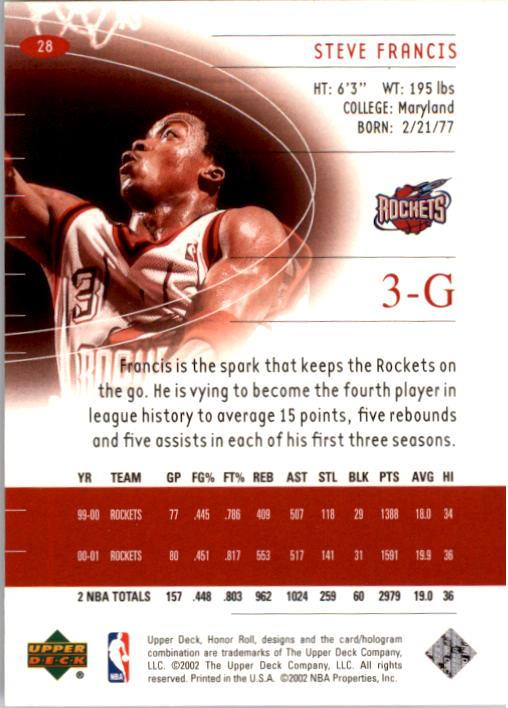 2001-02 Upper Deck Honor Roll #28 Steve Francis back image