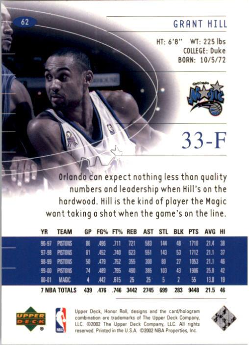 2001-02 Upper Deck Honor Roll #62 Grant Hill back image