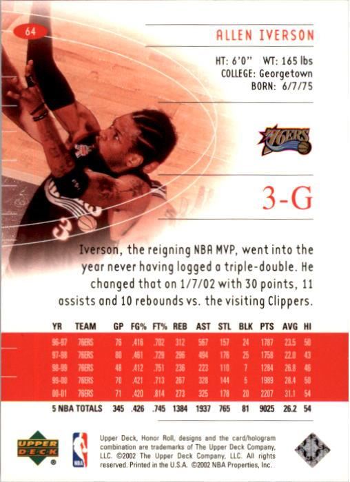 2001-02 Upper Deck Honor Roll #64 Allen Iverson back image