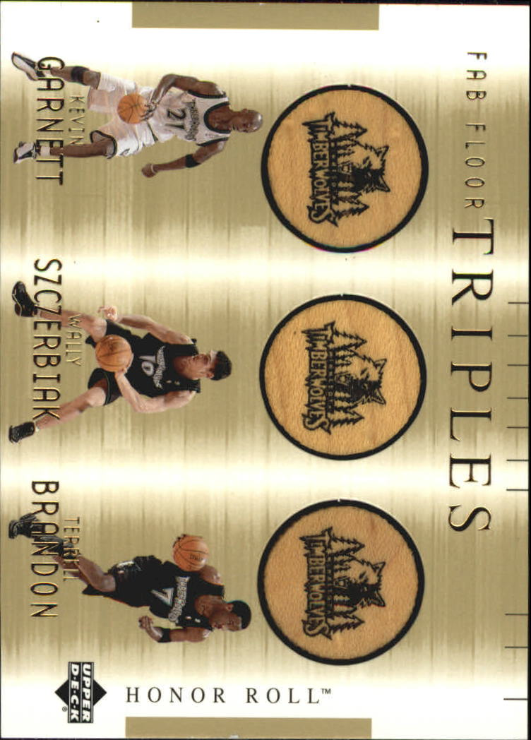2001-02 Upper Deck Honor Roll Fab Floor Triples #3 Kevin Garnett/Wally Szczerbiak/Terrell Brandon front image