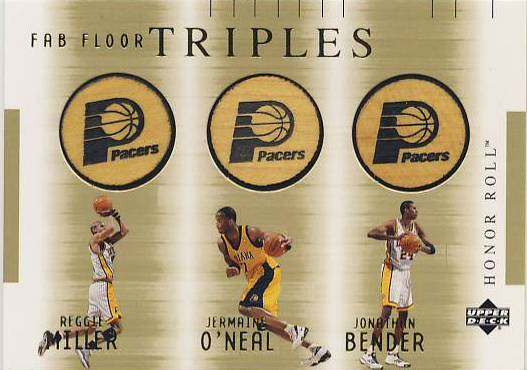 2001-02 Upper Deck Honor Roll Fab Floor Triples #5 Reggie Miller/Jermaine O'Neal/Johnathon Bender front image