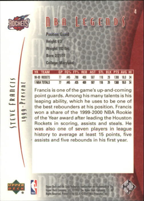 2001-02 Upper Deck Legends #4 Steve Francis back image