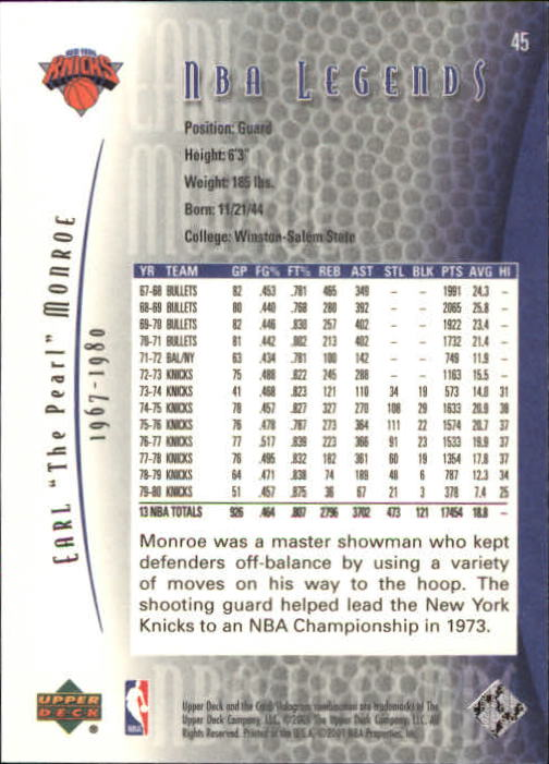 2001-02 Upper Deck Legends #45 Earl Monroe back image