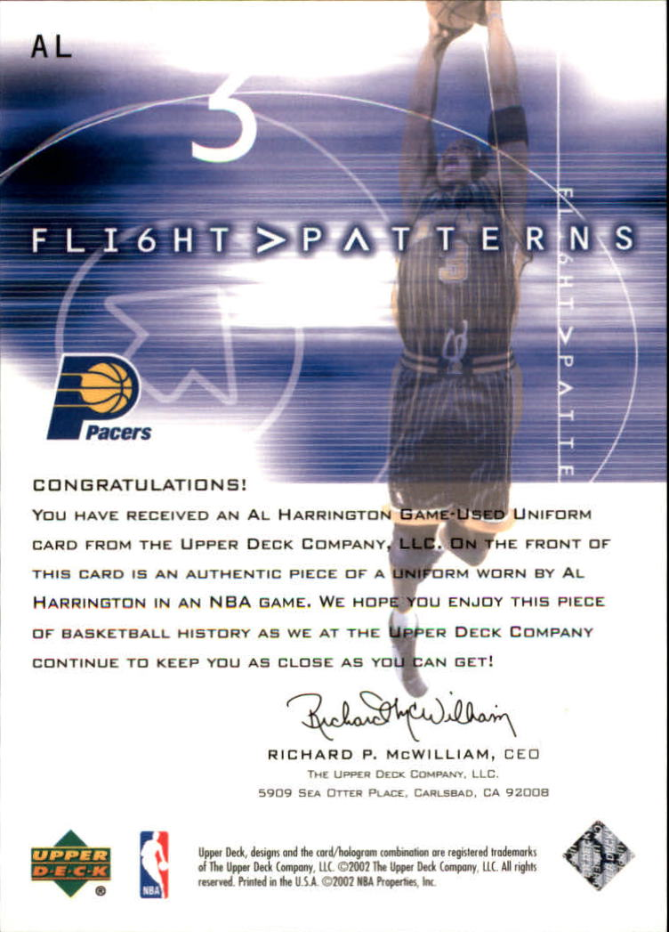 2001-02 Upper Deck Flight Team Flight Patterns #AL Al Harrington back image