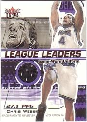 2001-02 Ultra League Leaders Game Worn #9 Chris Webber