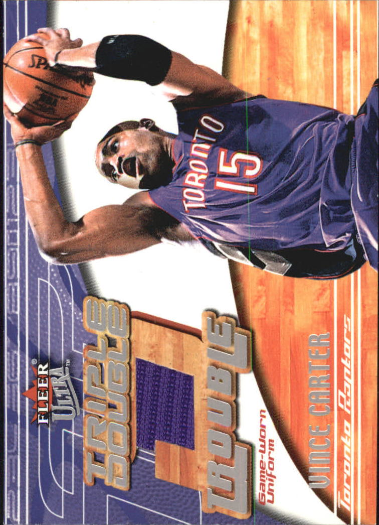 2001-02 Ultra Triple Double Trouble Game Worn #1 Vince Carter