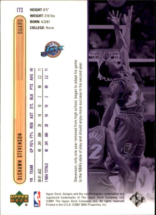 2001-02 Upper Deck #173 DeShawn Stevenson back image