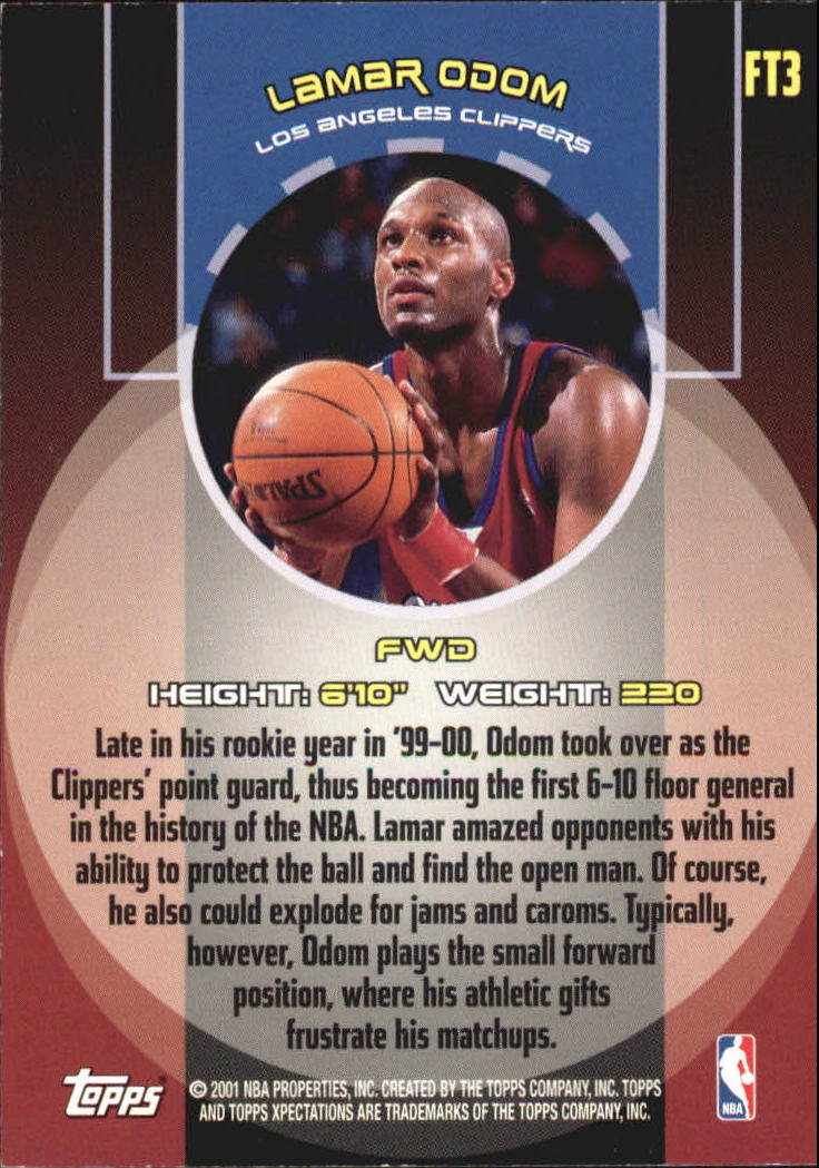 2001-02 Topps Xpectations Forward Thinking #FT3 Lamar Odom back image