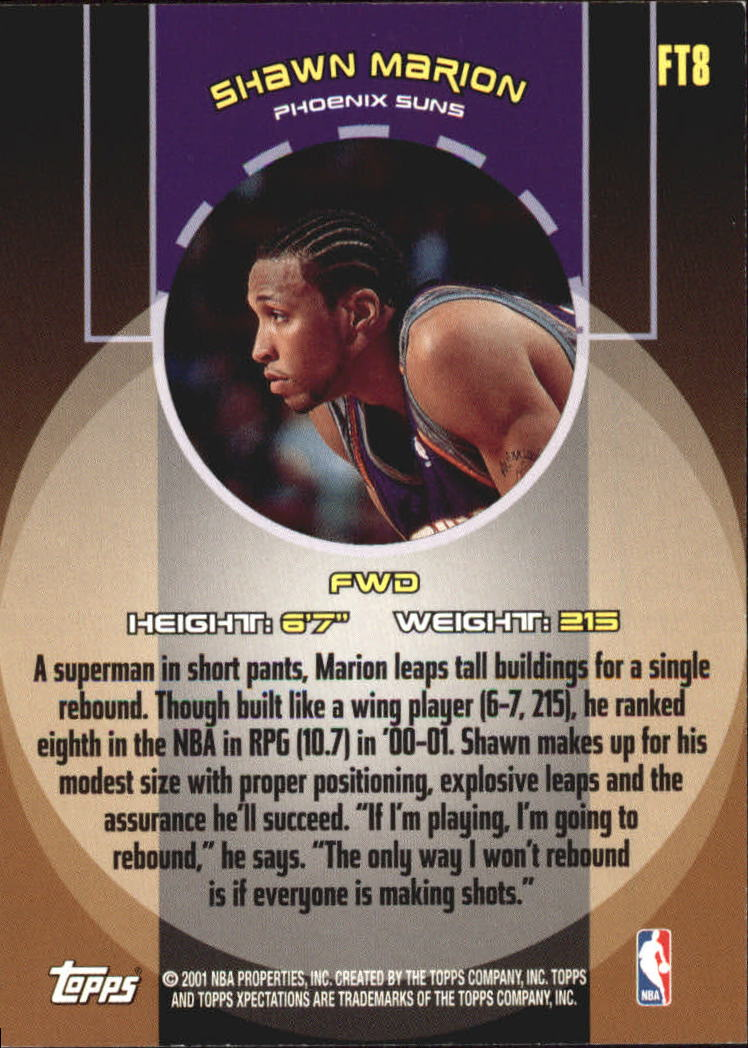 2001-02 Topps Xpectations Forward Thinking #FT8 Shawn Marion back image