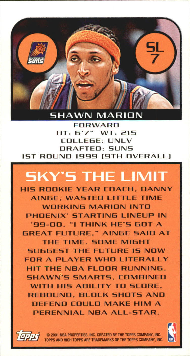 2001-02 Topps High Topps Sky's The Limit #SL7 Shawn Marion back image