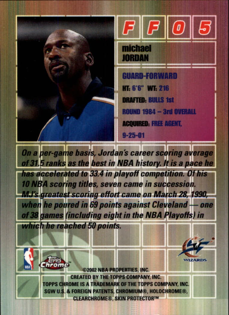 2001-02 Topps Chrome Fast and Furious #FF5 Michael Jordan back image