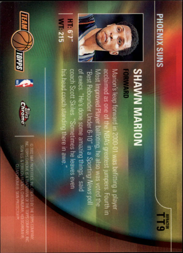 2001-02 Topps Chrome Team Topps Refractors #TT9 Shawn Marion back image