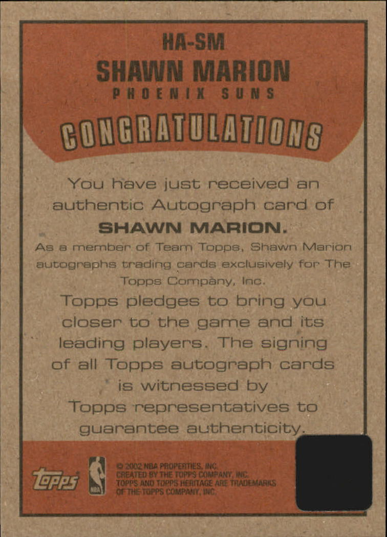 2001-02 Topps Heritage Autographs #12 Shawn Marion back image