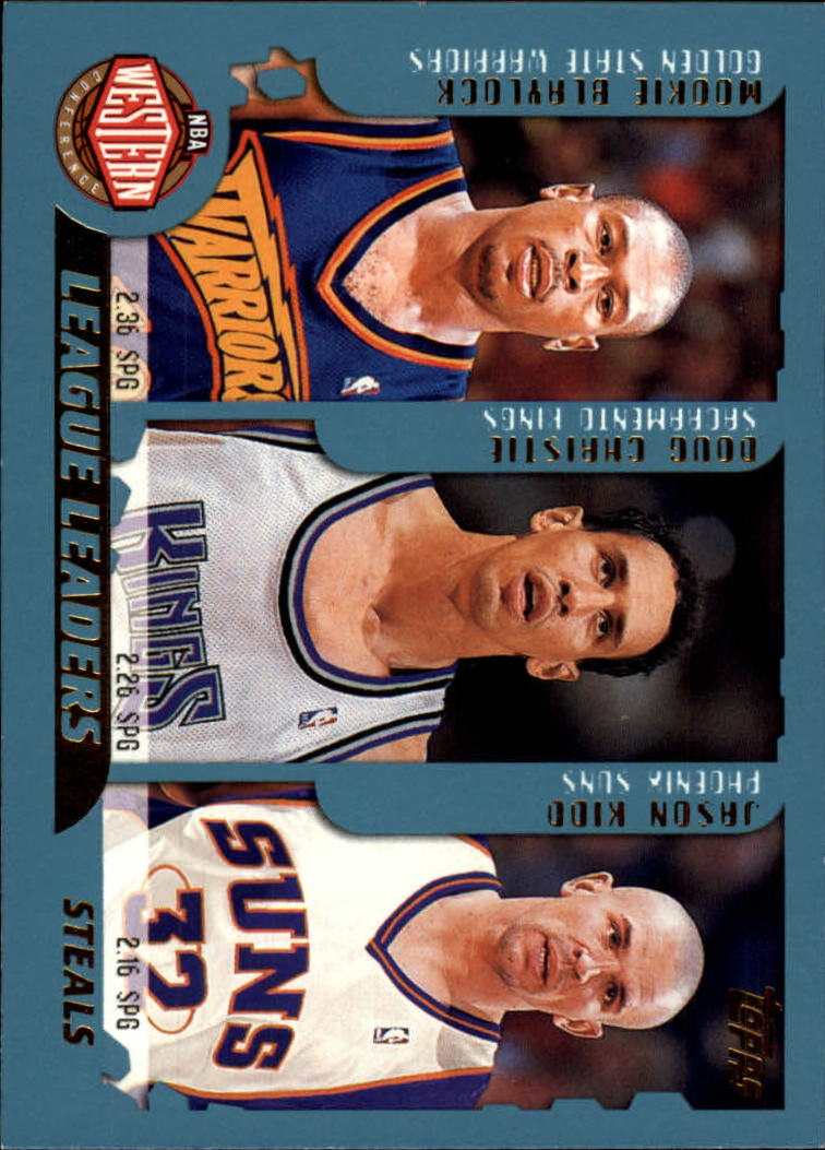 2001-02 Topps #218 Steals Leaders/Mookie Blaylock/Doug Christie/Jason Kidd/Allen Iverson/Baron Davis/Ron Artest