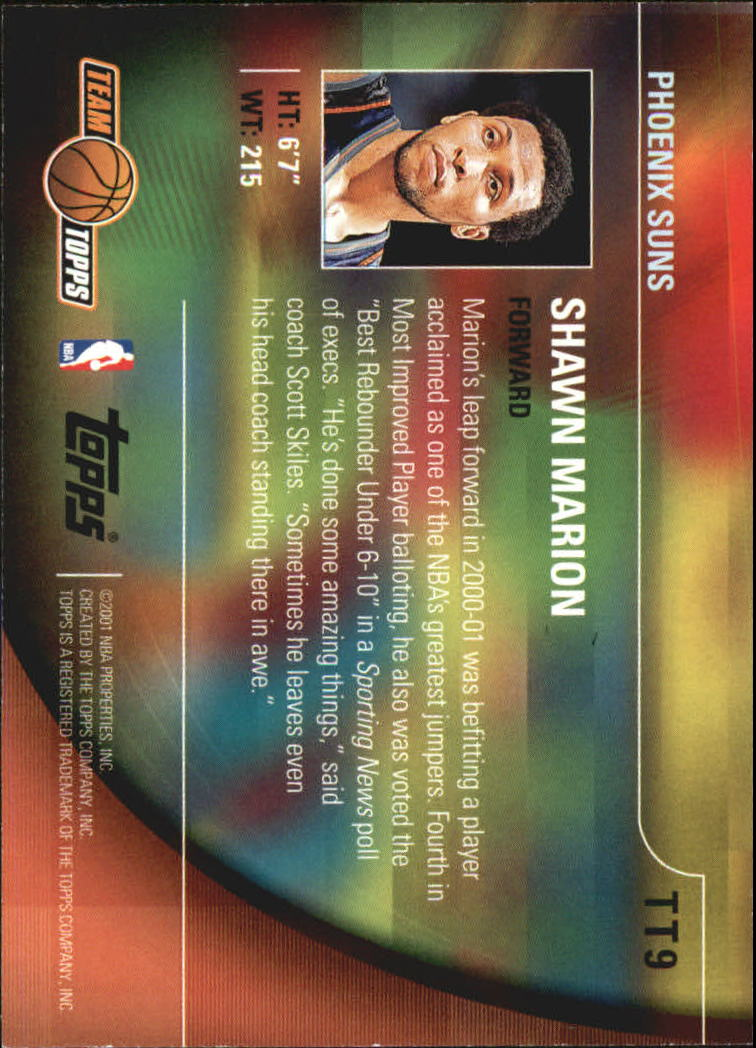 2001-02 Topps Team Topps #TT9 Shawn Marion back image