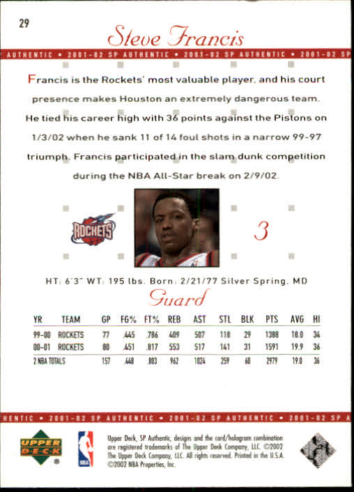 2001-02 SP Authentic #29 Steve Francis back image