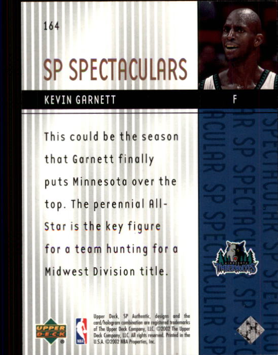 2001-02 SP Authentic #164 Kevin Garnett SPEC back image