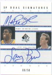 2001-02 SP Authentic Dual Signatures #MG/LB Magic Johnson/Larry Bird