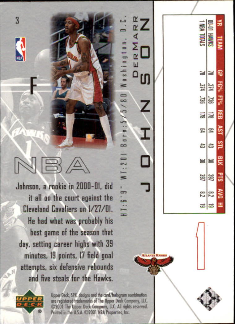 2001-02 SPx #3 DerMarr Johnson back image