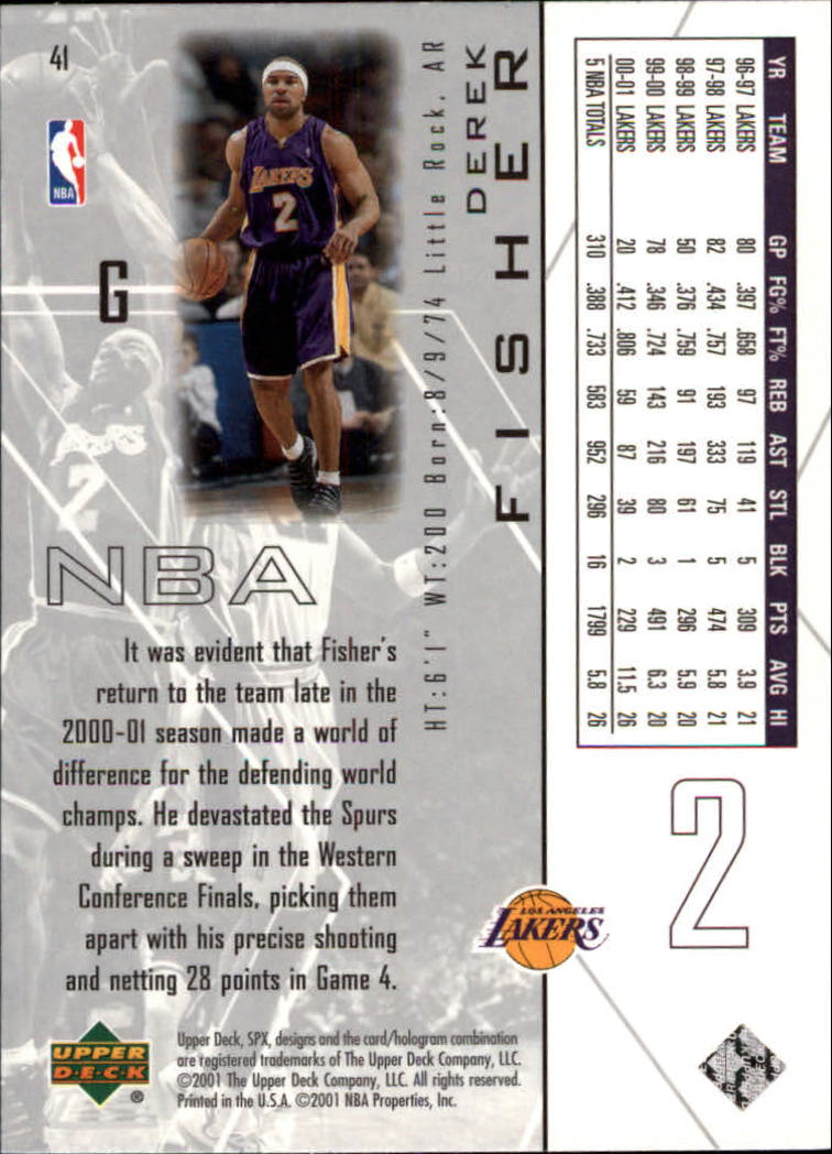 2001-02 SPx #41 Derek Fisher back image