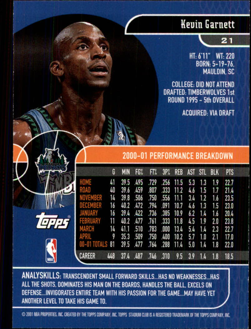 2001-02 Stadium Club #21 Kevin Garnett back image
