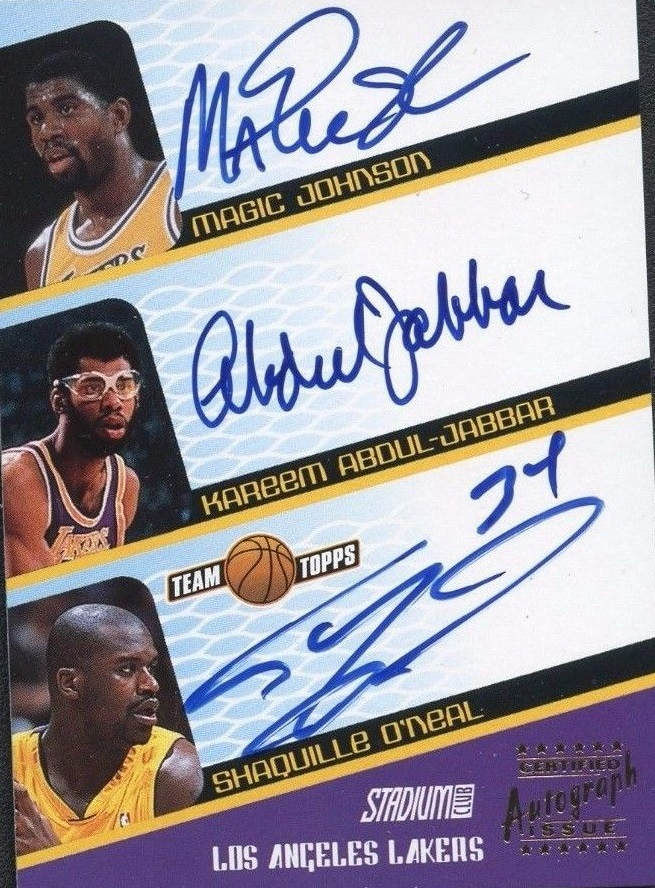 2001-02 Stadium Club Co-Signers #SCATRI Magic Johnson/Kareem Abdul-Jabbar/Shaquille O'Neal
