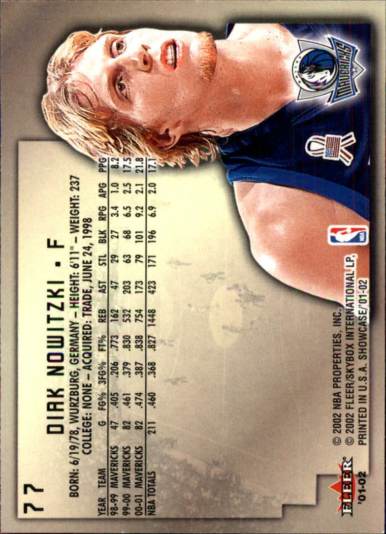 2001-02 Fleer Showcase #77 Dirk Nowitzki back image