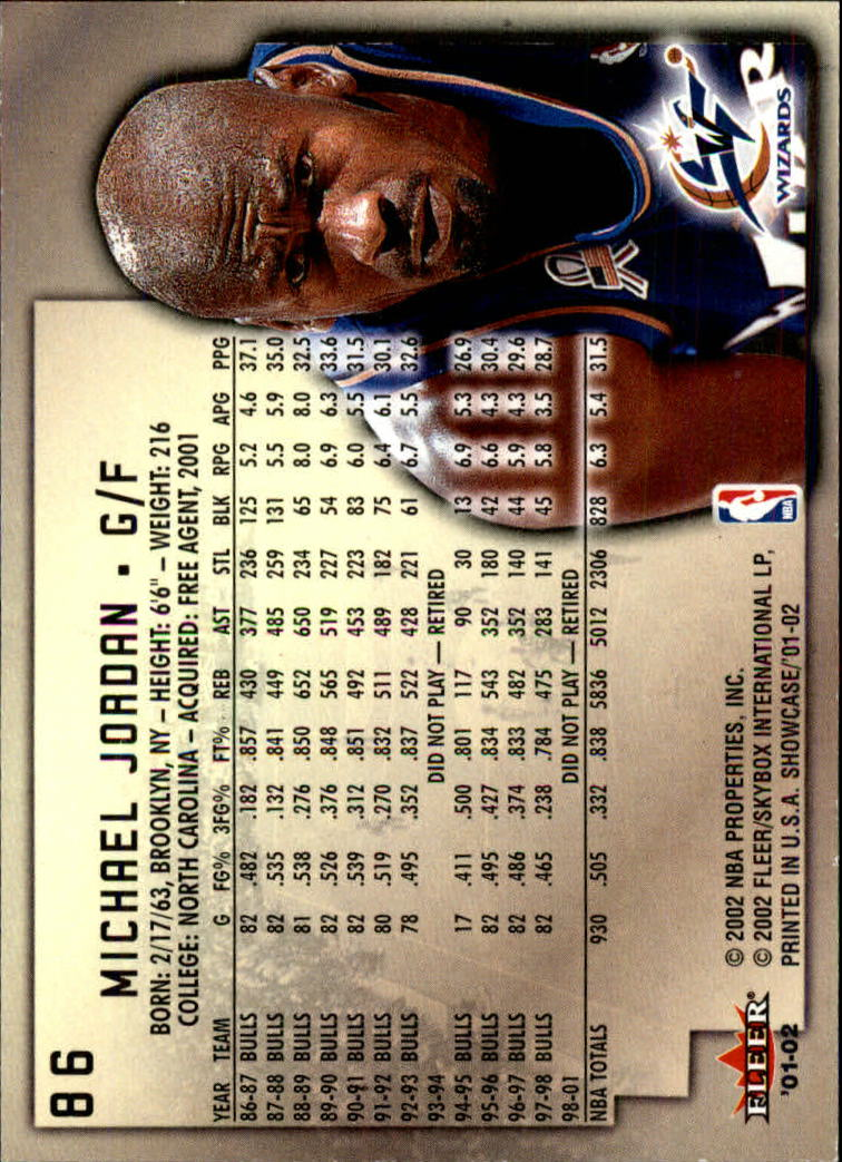 2001-02 Fleer Showcase #86 Michael Jordan back image