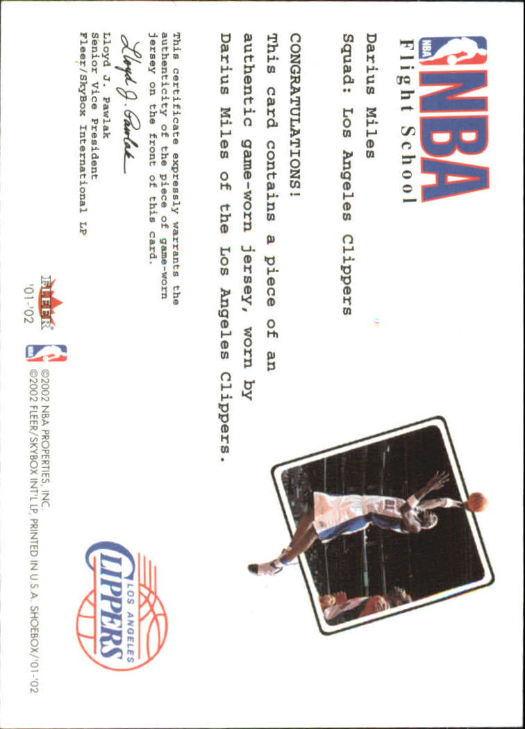 2001-02 Fleer Shoebox NBA Flight School Cadet #15 Darius Miles