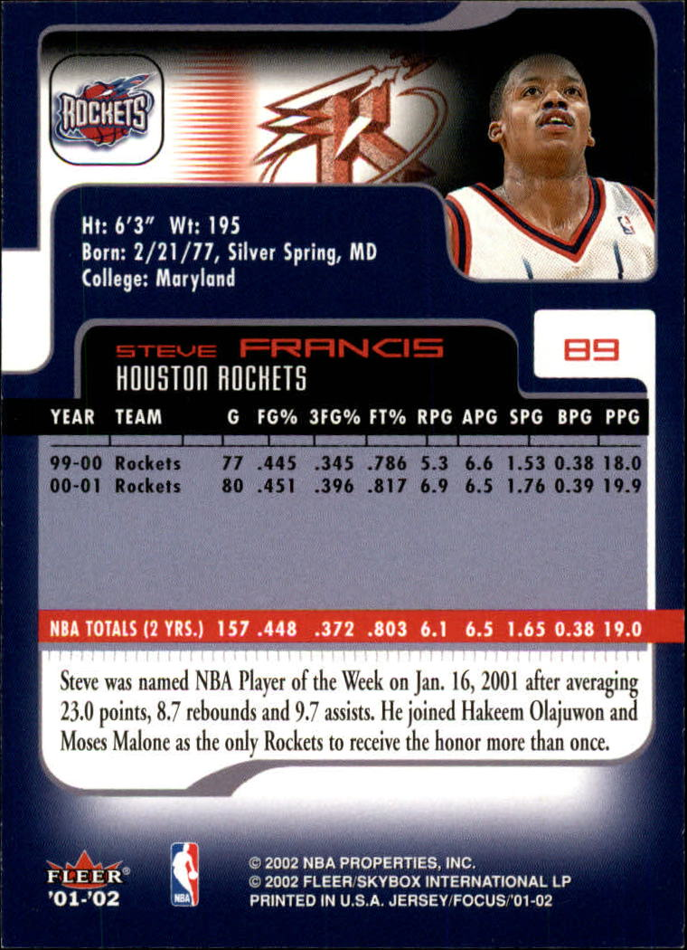 2001-02 Fleer Focus #89 Steve Francis back image