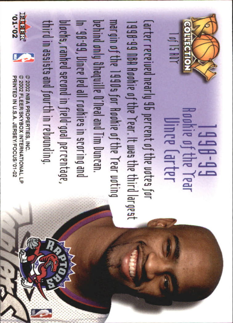 2001-02 Fleer Focus ROY Collection #1 Vince Carter back image