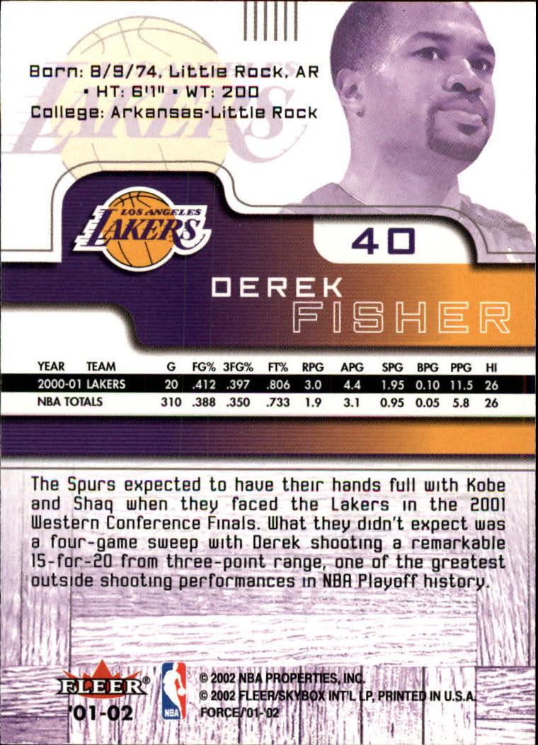 2001-02 Fleer Force #40 Derek Fisher back image