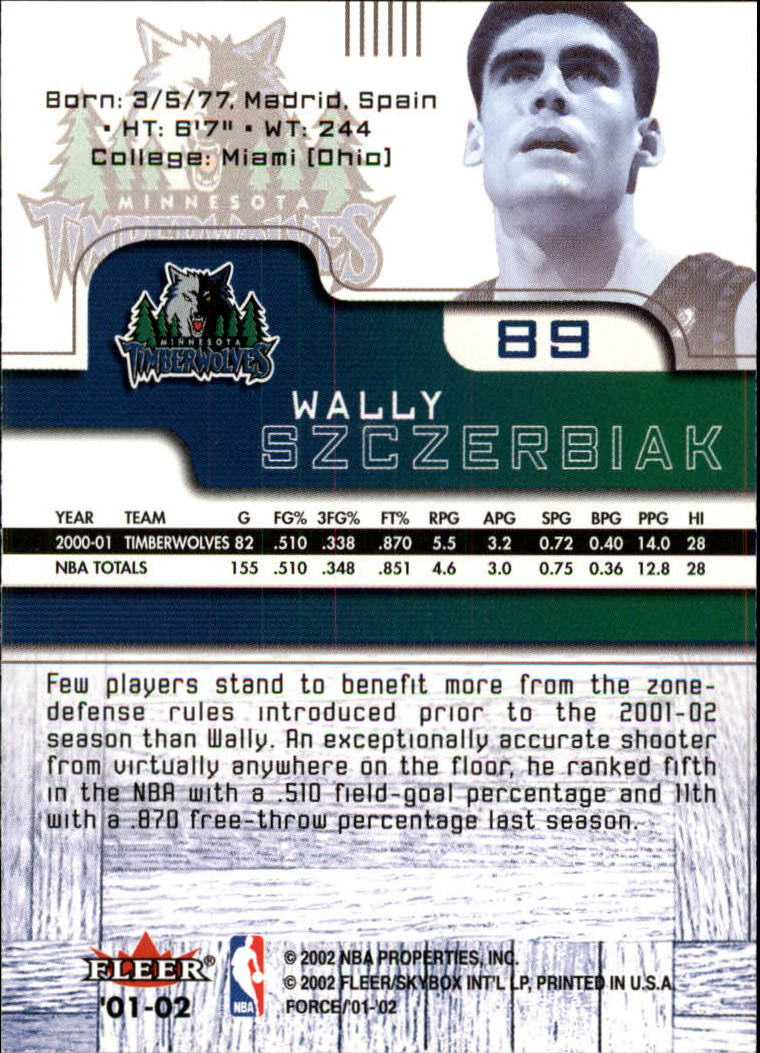2001-02 Fleer Force #89 Wally Szczerbiak back image