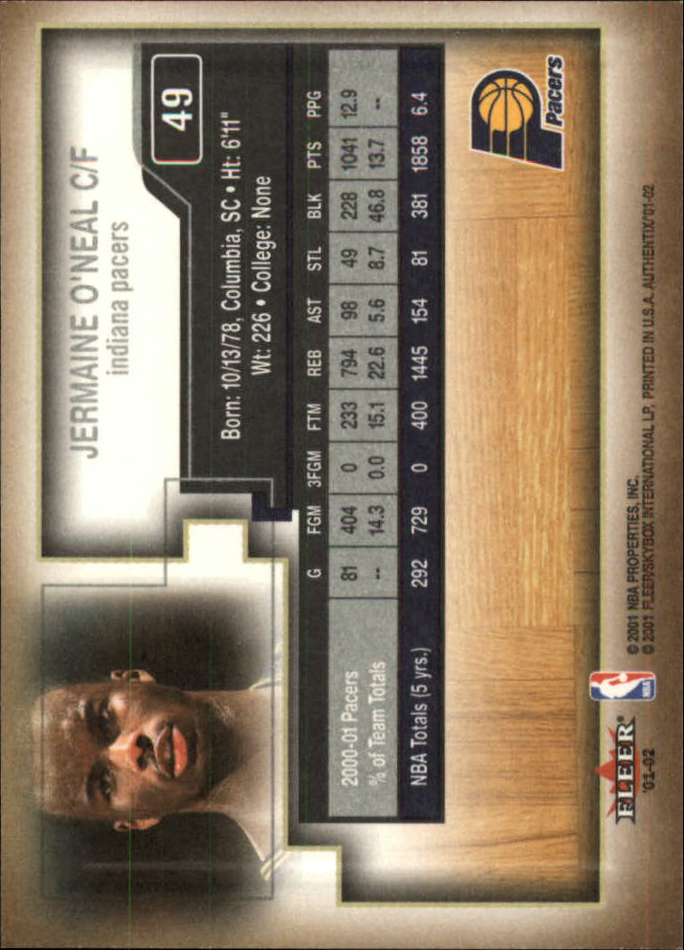 2001-02 Fleer Authentix #49 Jermaine O'Neal back image