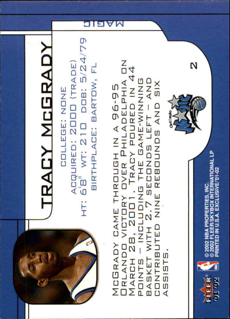 2001-02 Fleer Exclusive #2 Tracy McGrady back image