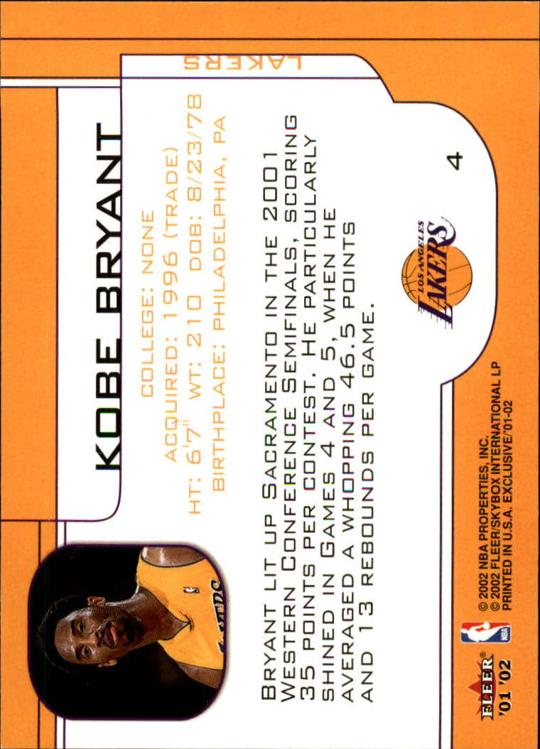2001-02 Fleer Exclusive #4 Kobe Bryant back image