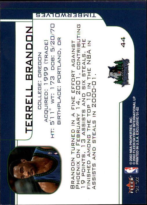 2001-02 Fleer Exclusive #44 Terrell Brandon back image